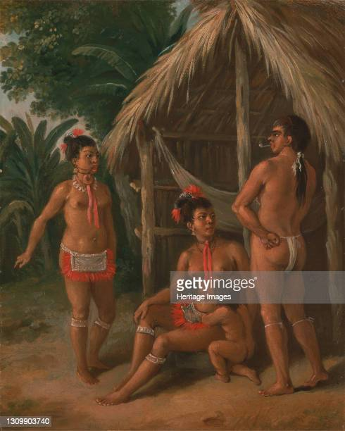 Leeward Islands Carib family outside a Hut, ca. 1780. Artist Agostino Brunias. .