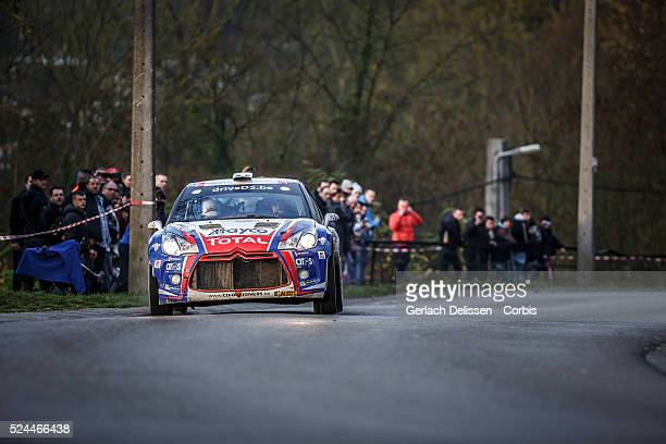Lefebvre and Tsjoen in the Citroen DS3 R5 in action during the 42e Rallye Du CondrozHuy in Huy Belgium on November 8 2015