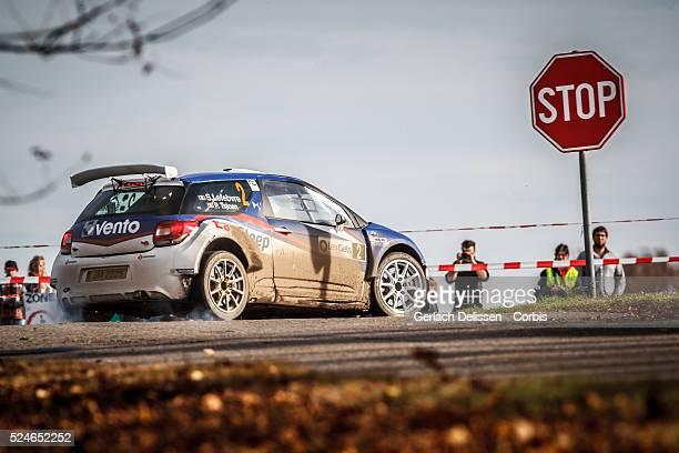 Lefebvre and Tsjoen in the Citroen DS3 R5 in action during the 42e Rallye Du Condroz-Huy in Huy, Belgium on November 8, 2015.