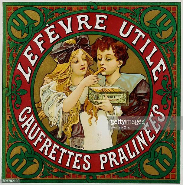 Lefevre Utile Gaufrettes Pralinees Poster by Alphonse Marie Mucha
