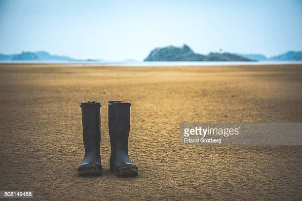 Left behind wellington boots