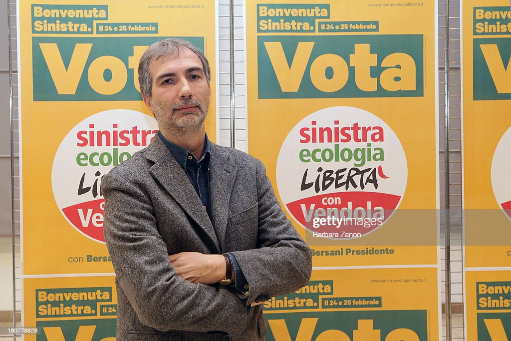 Left candidate Giulio Marcon attends the Electoral Campaign at Palaplip on February 5, 2013 in Mestre, Italy. Sinistra Ecologia e Liberta is a party in the centre-left coalition led by Pierluigi Bersani that will contest the upcoming election in February.