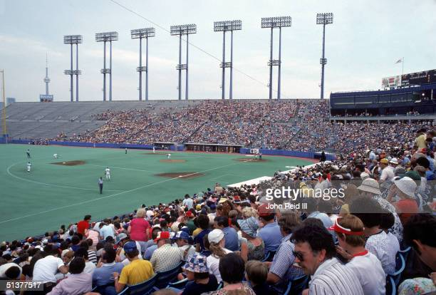 Left field view of Exhibition Stadium with the Blue Jays on field circa 1980 in Toronto Canada