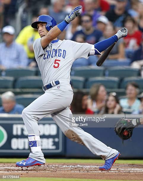 Left fielder Albert Almora Jr #5 of the Chicago Cubs swings during the game against the Atlanta Braves at Turner Field on June 10 2016 in Atlanta...