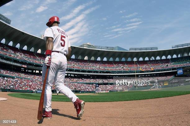 Left fielder Albert Pujols of the St. Louis Cardinals walks to the on-deck circle during the game against the Milwaukee Brewers at Busch Stadium on...