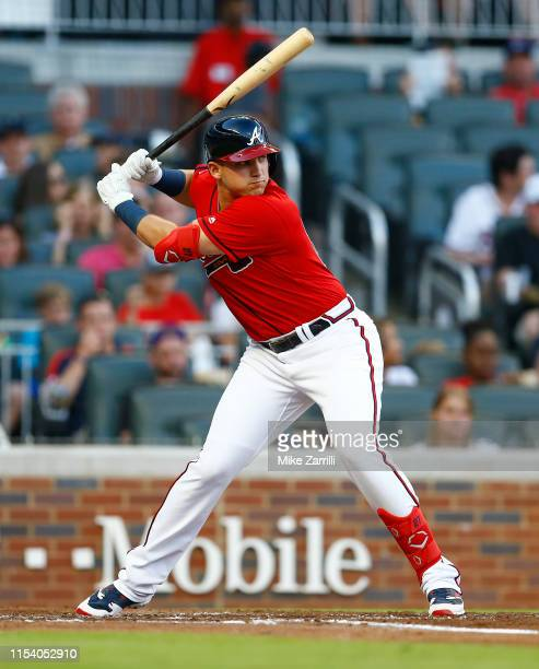 Left fielder Austin Riley of the Atlanta Braves bats during the game against the Detroit Tigers at SunTrust Park on May 31 2019 in Atlanta Georgia