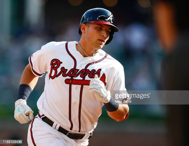 Left fielder Austin Riley of the Atlanta Braves runs the bases after hitting a 2run home run in the sixth inning during the game against the Detroit...