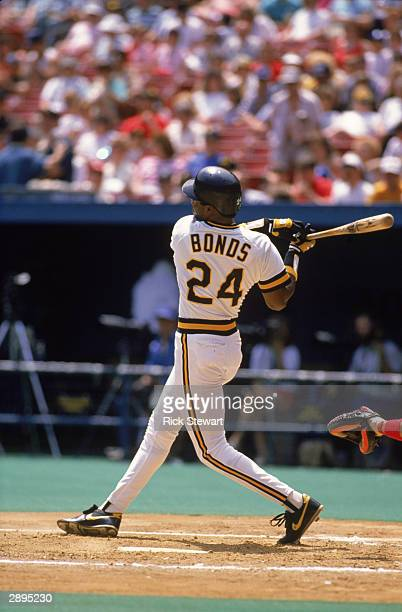 Left fielder Barry Bonds of the Pittsburgh Pirates at bat during the game against in Three Rivers Stadium in 1989 in Pittsburgh Pennsylvania
