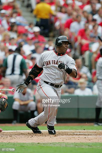 Left fielder Barry Bonds of the San Francisco Giants at bat during the game against the St. Louis Cardinals on July 24, 2004 at Busch Stadium in St....