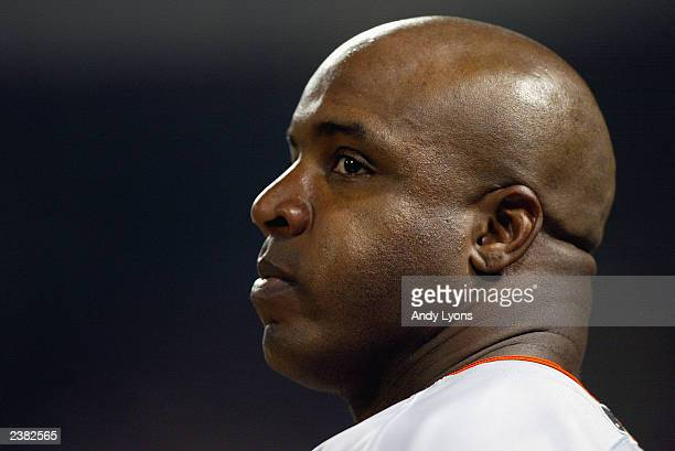 Left fielder Barry Bonds of the San Francisco Giants looks on during the National League game against the Cincinnati Reds at Great American Ball Park...