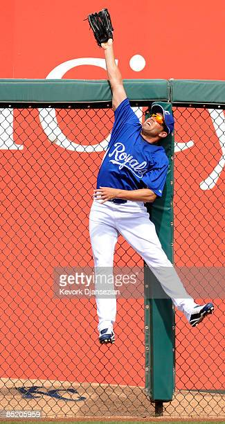 Left fielder David DeJesus of the Kansas City Royals reaches but can not catch a one run home run by Kelly Shoppach of the Cleveland Indians during a...