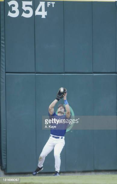 Left Fielder David Dellucci goes deep against the padding at the 354 sign to hall one in in the Texas Rangers sweep Toronto Blue Jays with a 75 come...