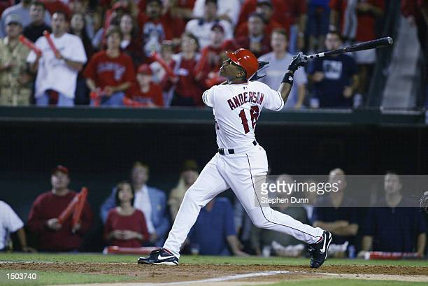 Left fielder Garret Anderson of the Anaheim Angels at bat against the Minnesota Twins in Game Four of the American League Championship Series on...