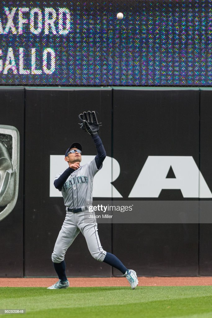 Left fielder Ichiro Suzuki #51 of the Seattle Mariners catches a fly ball hit by Yonder Alonso #17 of the Cleveland Indians during the sixth inning at Progressive Field on April 28, 2018 in Cleveland, Ohio.
