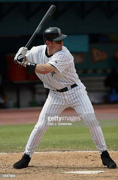 Left fielder Jeff Conine of the Florida Marlins waits for the Pittsburgh Pirates pitch during the game at Pro Player Stadium on September 4 2003 in...