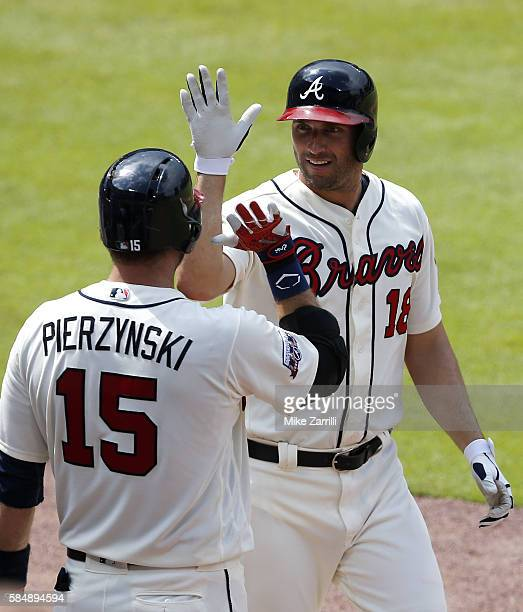 Left fielder Jeff Francoeur of the Atlanta Braves celebrates with catcher AJ Pierzynski after hitting a 2run home run in the seventh inning during...