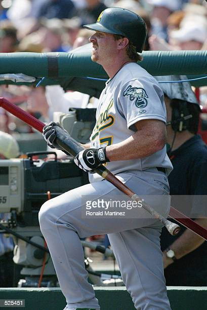 Left fielder Jeremy Giambi of the Oakland Athletics holds a bat in the dugout while in the hole during the MLB game against the Texas Rangers at The...