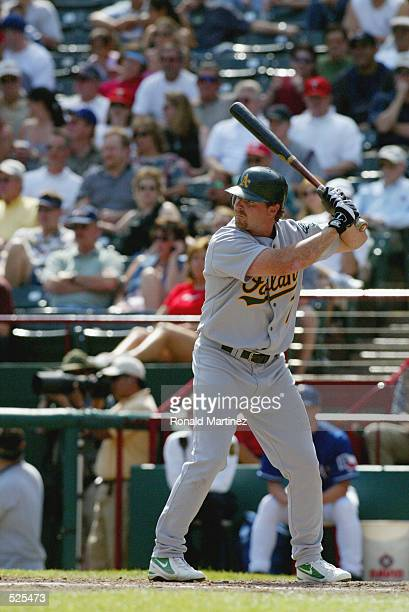 Left fielder Jeremy Giambi of the Oakland Athletics waits for the pitch during the MLB game against the Texas Rangers at The Ballpark in Arlington...