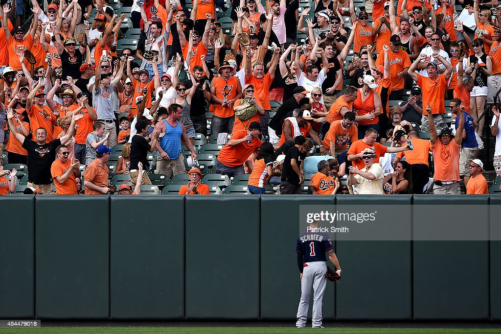 Left fielder Jordan Schafer #1 of the Minnesota Twins watches a home run hit by Nick Hundley #40 of the Baltimore Orioles (not pictured) go into the crowd in the seventh inning at Oriole Park at Camden Yards on September 1, 2014 in Baltimore, Maryland. The Minnesota Twins won, 6-4.