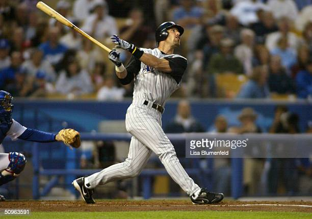 Left fielder Luis Gonzalez of the Arizona Diamondbacks at bat during the game against the Los Angeles Dodgers on May 28, 2004 at Dodger Stadium in...