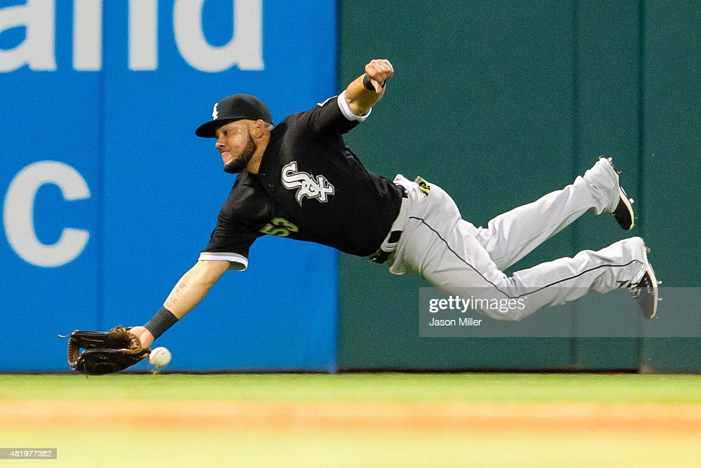 Left fielder Melky Cabrera #53 of the Chicago White Sox misses an RBI fly ball hit by Giovanny Urshela #39 of the Cleveland Indians during the seventh inning at Progressive Field on July 25, 2015 in Cleveland, Ohio.