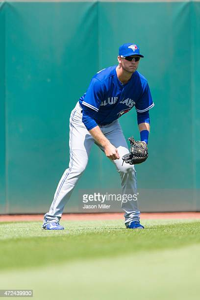 Left fielder Michael Saunders of the Toronto Blue Jays in his ready stance during the second inning against the Cleveland Indians at Progressive...