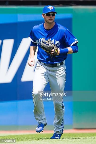 Left fielder Michael Saunders of the Toronto Blue Jays on the field during the second inning against the Cleveland Indians at Progressive Field on...