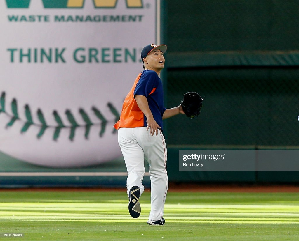 Left fielder Norichika Aoki #3 of the Houston Astros during game action against the Atlanta Braves at Minute Maid Park on May 9, 2017 in Houston, Texas.