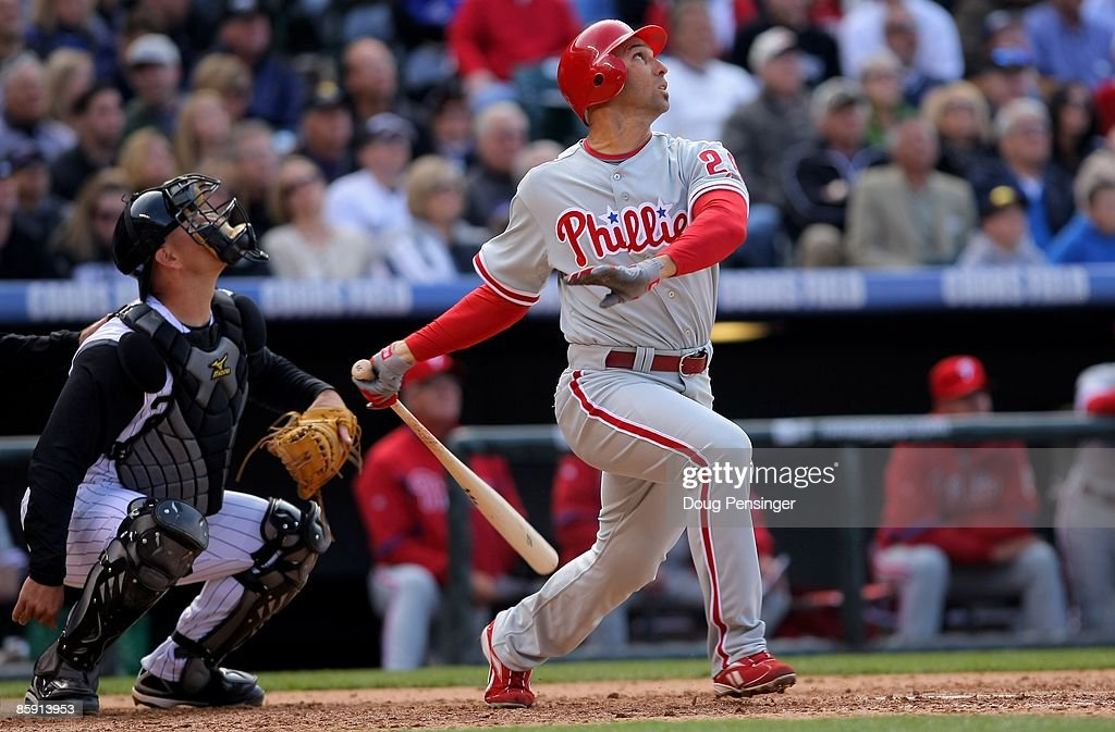 Left fielder Raul Ibanez #29 of the Philadelphia Phillies takes an at bat against the Colorado Rockies during MLB action on Opening Day at Coors Field on April 10, 2009 in Denver, Colorado. The Rockies defeated the Phillies 10-3.