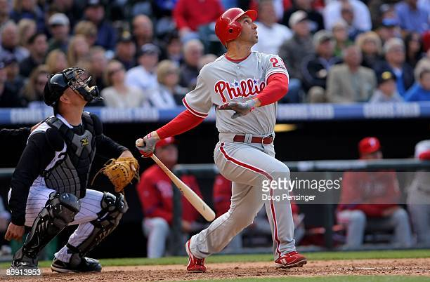 Left fielder Raul Ibanez of the Philadelphia Phillies takes an at bat against the Colorado Rockies during MLB action on Opening Day at Coors Field on...