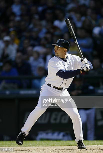 Left fielder Raul Ibanez of the Seattle Mariners at bat during the game against the Anaheim Angels on April 8 2004 at Safeco Field in Seattle,...