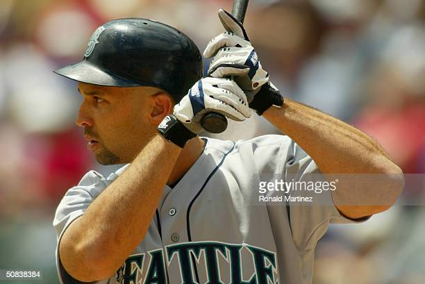 Left fielder Raul Ibanez of the Seattle Mariners at bat during the game against the Texas Rangers at the Ballpark in Arlington on April 25 2004 in...