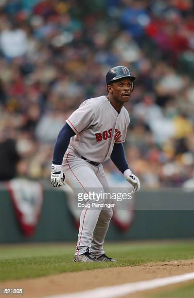 Left fielder Rickey Henderson of the Boston Red Sox leads off third base during the MLB game against the Baltimore Orioles at Camden Yards in...