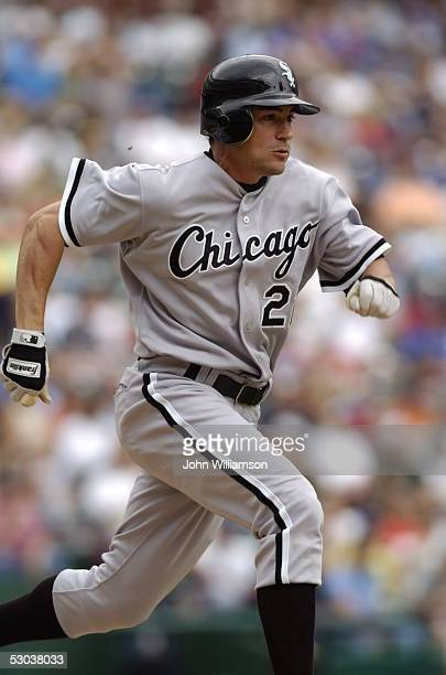 Left fielder Scott Podsednik of the Chicago White Sox runs the bases during the game against the Texas Rangers at Ameriquest Field in Arlington on...