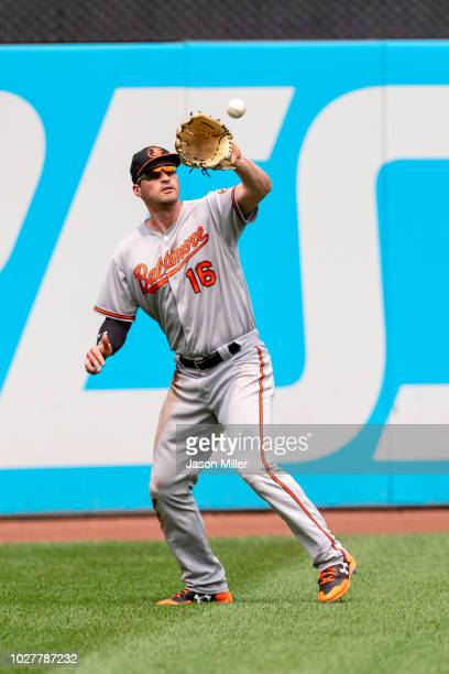 Left fielder Trey Mancini of the Baltimore Orioles catches a fly ball hit by Bobby Dickerson of the Baltimore Orioles during the first inning at...