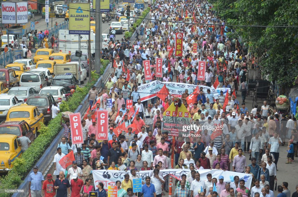 """Left Front Political Party activist participate in a rally """"World Peace """" Rally and Protest against the arrest of five human right activists - Sudha Bharadwaj, Gautam Navlakha, Arun Ferreira, Vernon Gonsalves, and P Varavara Rao in connection with the Bhima-Koregaon violence by Maharashtra Police on September 01,2018 in Kolkata City,India.India's top court ordered Wednesday that five activists arrested for alleged Maoist links be kept under house arrest instead of police custody until it rules next week on a petition challenging their detention."""