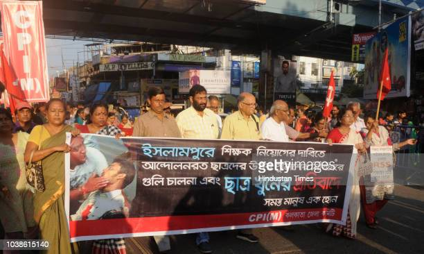 Left Front supporters stage a protest rally on the issue of school students death of Islampur at Gariahat crossing on September 23 2018 in Kolkata...