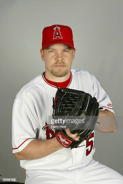 Left handed pitcher Jarrod Washburn of the Anaheim Angels poses for a portrait during the 2004 MLB Spring Training Photo Day at Tempe Diablo Stadium...