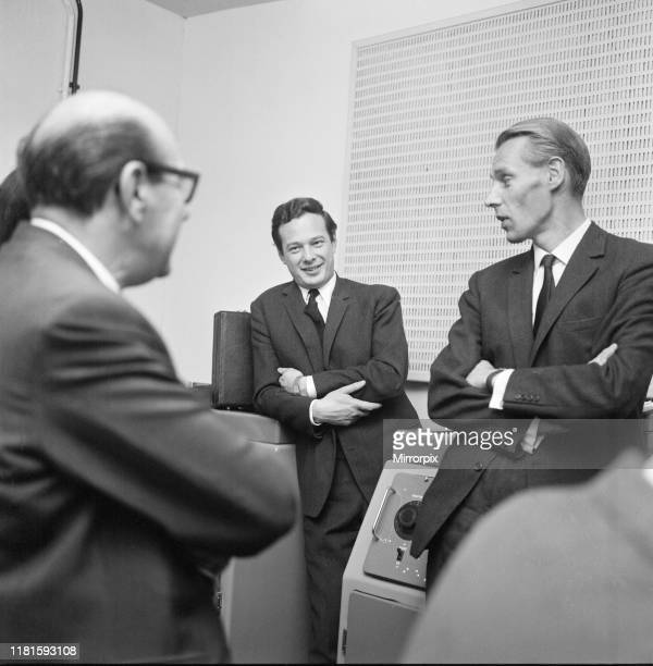 Left is Dick James centre is Brian Epstein and right is George Martin at EMI Abbey Road Studios. Picture taken 2nd October 1964.