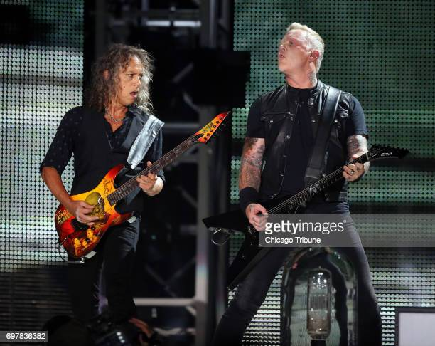 Left Kirk Hammett and right James Hetfield of Metallica perform at Soldier Field on June 18 2017 in Chicago