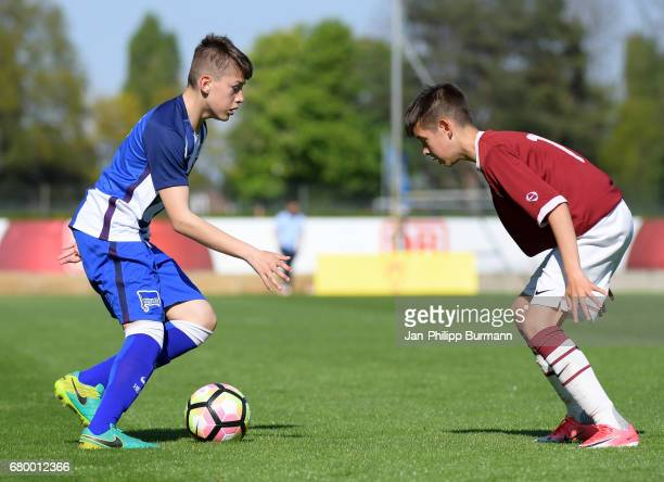 left Mladen Cvejtinovic of Hertha BSC U14 during the game of the 3rd place during the Nike Premier Cup 2017 on may 7 2017 in Berlin Germany