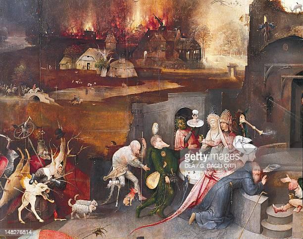 Left panel of the Temptation of St Anthony Triptych by Hieronymus Bosch Lisbon Museu Nacional De Arte Antiga