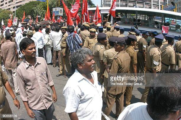 Left Parties and Autorikshaw Drivers Association Protesting against the Price Hike of Fuel in Chennai Tamil Nadu India