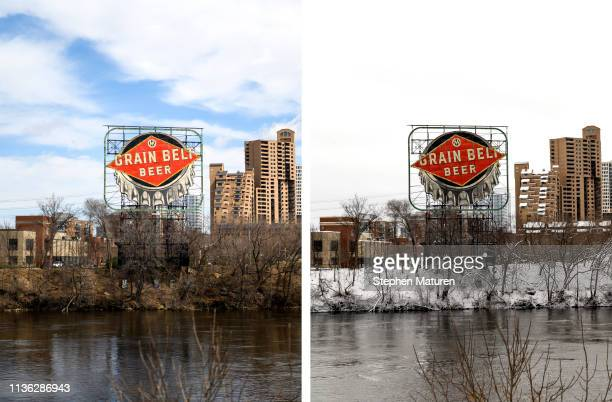 A general view of the Grain Belt Beer sign and the Mississippi River on April 9 2019 in Minneapolis Minnesota Right Photo A general view of the Grain...