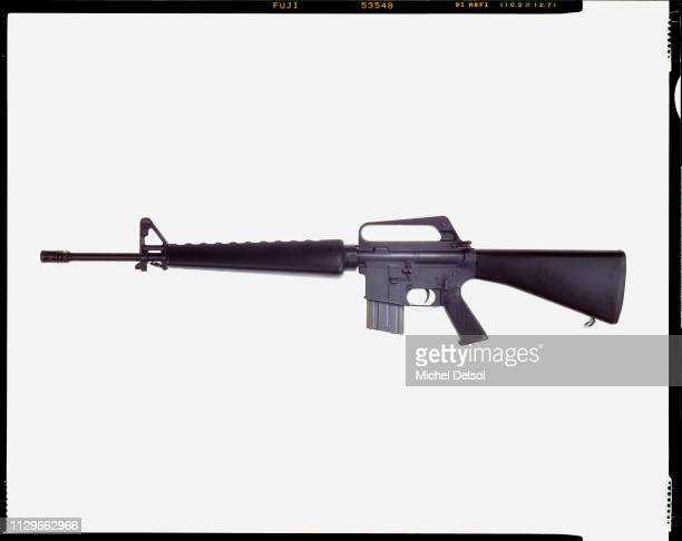 Left profile of an Essential Arms J15 semiautomatic rifle with an attached magazine seen against a white background New York New York March 9 1994...