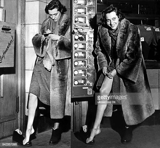 Left Repairs receipt for nylon stockings Right Vending machine for nylon stockings 1954