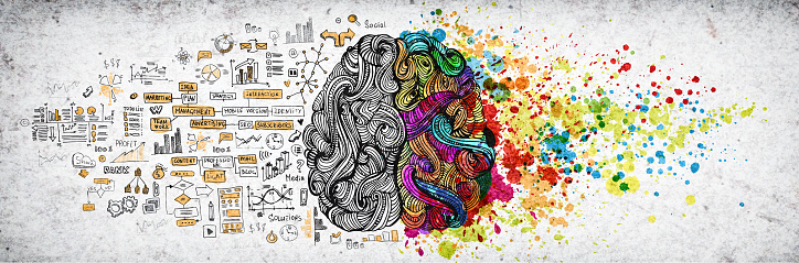 Left right human brain concept, textured illustration. Creative left and right part of human brain, emotial and logic parts concept with social and business doodle illustration of left side, and art paint splashes of the right side 1130377208