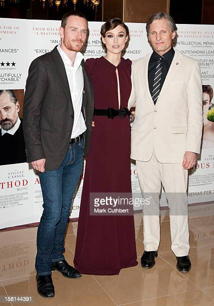 Left Right Michael Fassbender Keira Knightley And Viggo Mortensen Arriving At The Gala Premiere Of A Dangerous Method At The May Fair Hotel London