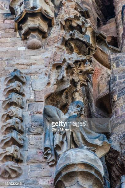 left side of nativity facade, sagrada familia - familia stock pictures, royalty-free photos & images
