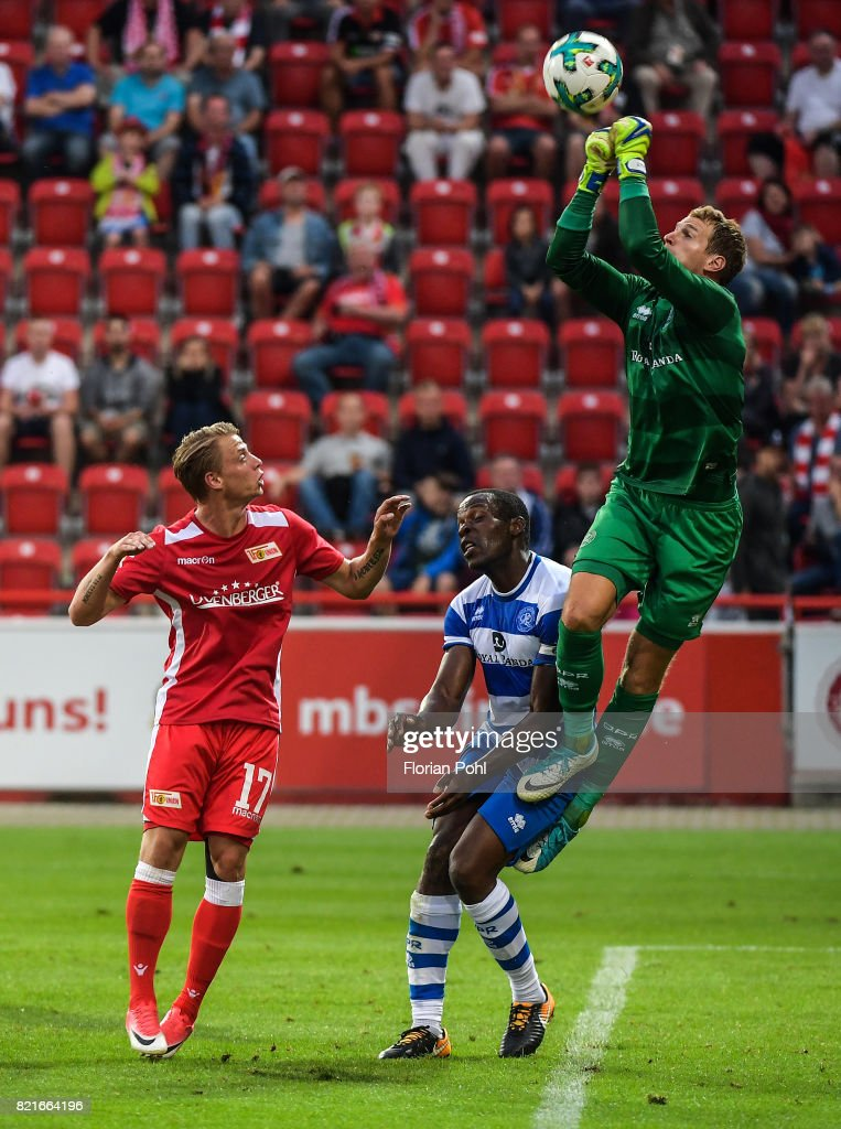 Simon Hedlund of 1 FC Union Berlin and right: Alex Smithies of the Queens Park Rangers during the game between Union Berlin and the Queens Park Rangers on july 24, 2017 in Berlin, Germany.